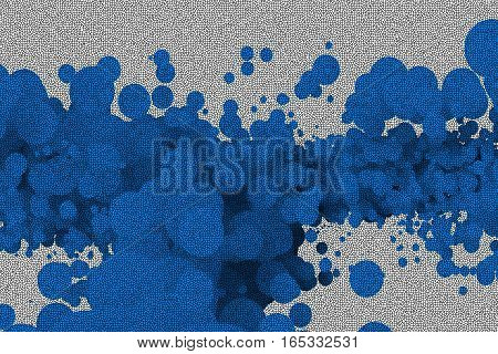Abstract background is comprised of a plurality of blue mosaic circles