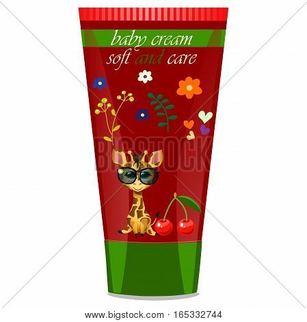 High quality original trendy vector Baby cream tube with kids design and giraffe, cherry illustration