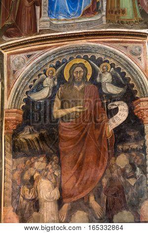 PADUA, ITALY - MAY 3, 2016: The frescos in Baptistery of Duomo or The Cathedral of Santa Maria Assunta by Giusto de Menabuoi (1375-1376).