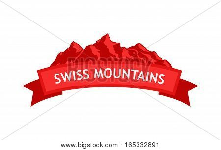Logo of Swiss Mountains in red colors with ribbon and caption.