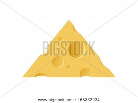 Triangle Piece of Maasdam Cheese. Beautiful Symbol Illustration of Dairy Products