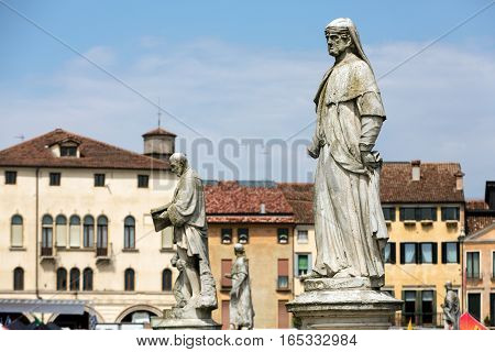 PADUA, ITALY - MAY 3, 2016: Statues on Piazza Prato della Valle Padua Italy.