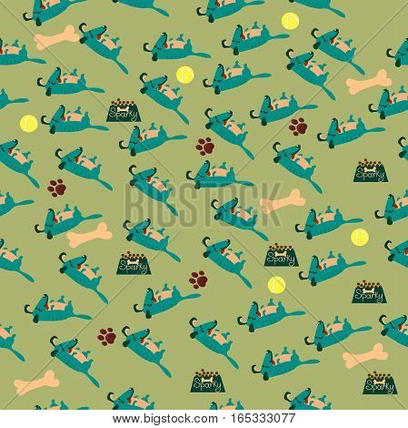 High quality original trendy vector seamless pattern with cute dog or puppy. Dog best friend