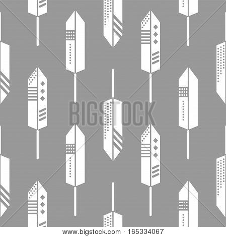 Boho feathers ornament seamless vector pattern. White on gray tileable aztec background.