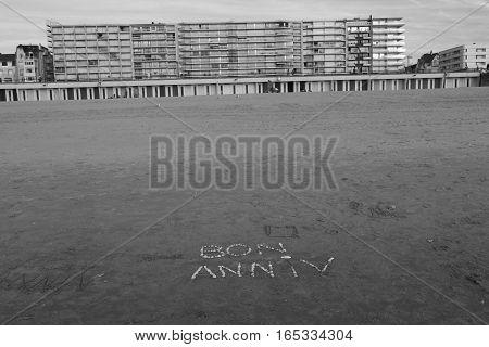 happy birthday on the beach of the Touquet , PAS-DE-Calais, hauts de France , France