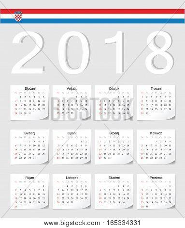 Croatian 2018 Calendar