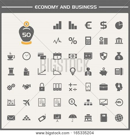 Economy and business icons set on simple presentation