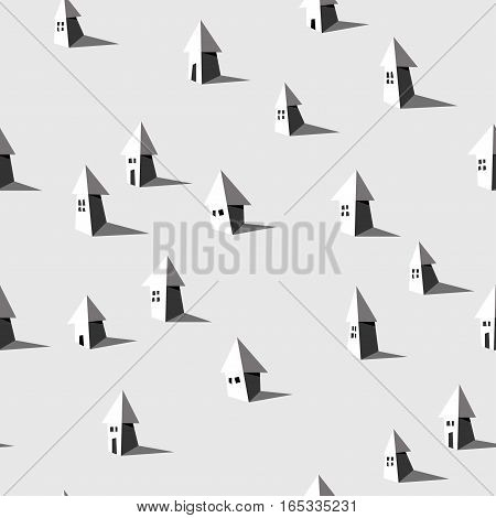Vector geometric seamless pattern with houses. Town tourism architecture theme. Black and white house pattern for textile paper book game cards banner web design.
