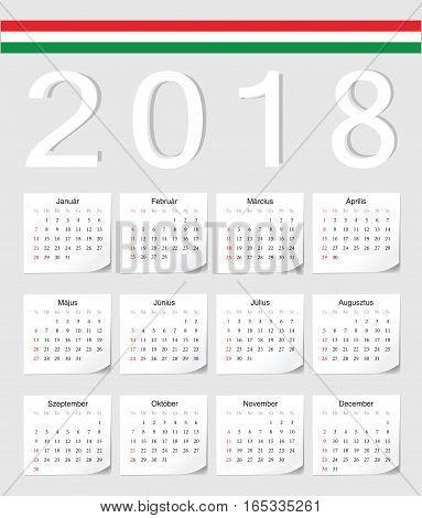 Hungarian 2018 Calendar