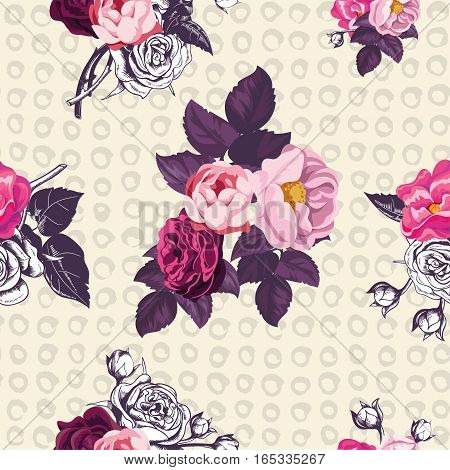 Elegant botanical seamless pattern with pink and unpainted roses on yellow background with hand painted spots. Vector illustration in kitschy style for wrapping paper textile print greeting card.