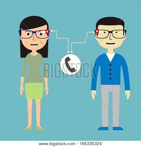 Man and woman chatting via smart glasses