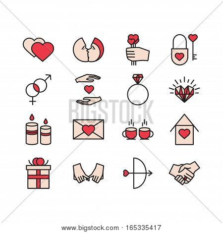 Vector Valentine Icons Set. Love couple relationship holiday theme. Colored isolated icons for polygraphy web design logo app UI.