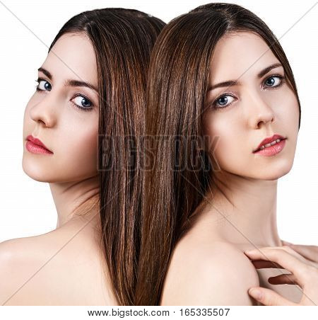 Collage of young woman faces over white background. Spa concept.