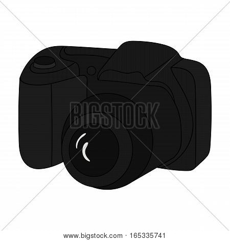 Digital camera icon in cartoon design isolated on white background. Family holiday symbol stock vector illustration.