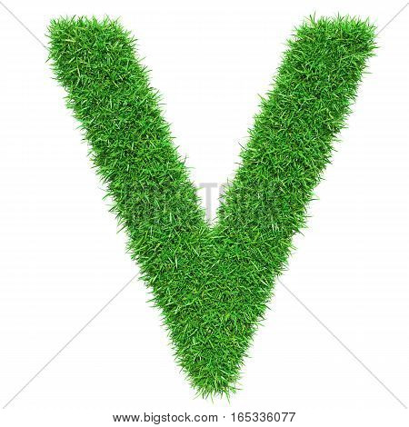 Green Grass Letter V. Isolated On White Background. Font For Your Design. 3D Illustration
