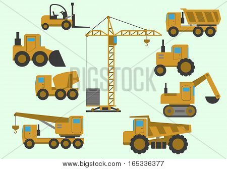 Set of construction equipment. Heavy machinery construction. Heavy machine vector set. Vector illustration.