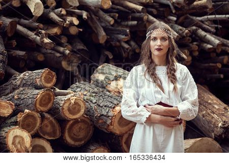 Atractive Woman In Traditional Romanian Costume