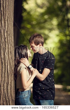 Cute Couple Kising In The Park