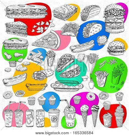 Big vector set, fast food Sketch style. Hamburger, taco, burrito chicken potato fries sandwich coffee lemonade, ice cream, hot dog, ketchup, mustard, soda, beer. Hand drawn design elements