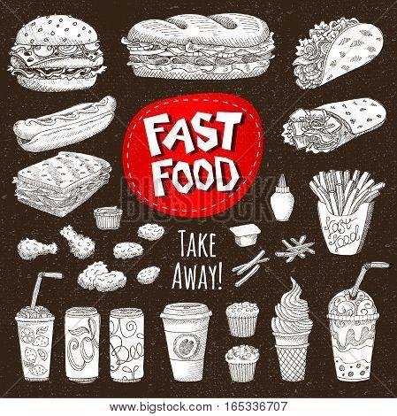 Vector set. Sketch style. Fast food. Hamburger, taco, burrito, chicken, potato, fries, sandwich, coffee, lemonade, ice cream, hot dog, ketchup, mustard, soda, beer. Hand drawn design, cardboard.