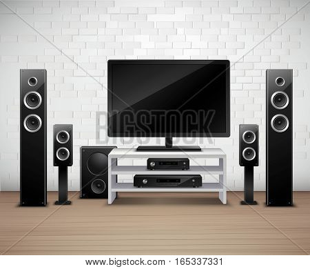 Home theater realistic interior template with tv amplifier and acoustic speakers vector illustration