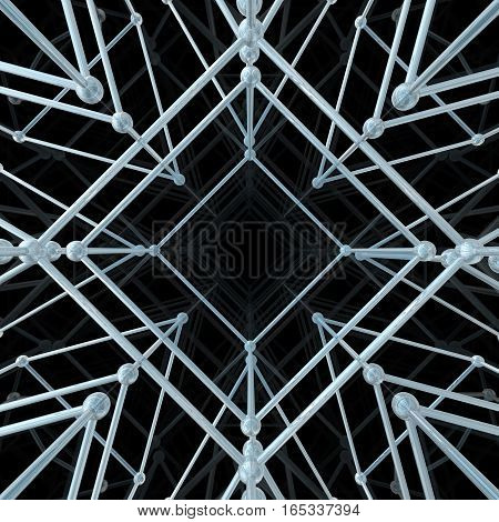 Abstract geometric pattern. Network connection on black background. 3D illustration