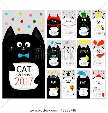 Cat vertical monthly calendar 2017 cover. All month. Happy Valentines St Patrick day Christmas Easter Egg Bird Chicken Umbrella rain Santa hat sun symbol Flat design Vector Cute cartoon character set