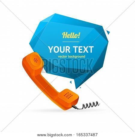 Red Phone Receiver with Abstract Geometric Bubble Speech. Vector illustration