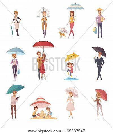 Adults people and children standing under umbrella of different shape and size decorative icons set  flat vector illustration