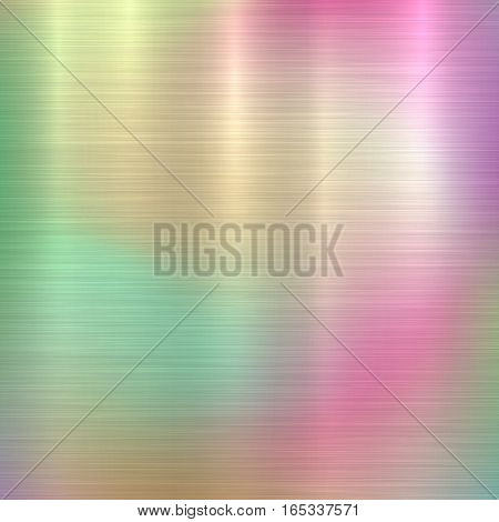 Metal abstract pastel colorful gradient technology background with polished, brushed texture, chrome, silver, steel, aluminum for design concepts, web, prints, wallpapers. Vector illustration.