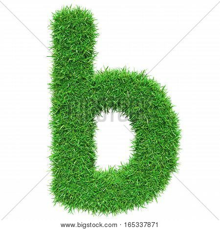 Green Grass Letter B. Isolated On White Background. Font For Your Design. 3D Illustration