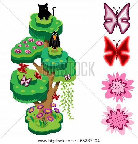 Animal tree. Flowers, butterflies, crow and black panther. Isometric view. Vector illustration.