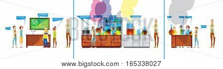 Set of funny comics compositions with student characters in the chemical laboratory failing to perform experiment vector illustration