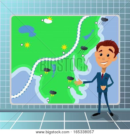 Vector illustration of cartoon tv television news meterologist ahchorman with weather temperature sheme and rainfall on monitor screen