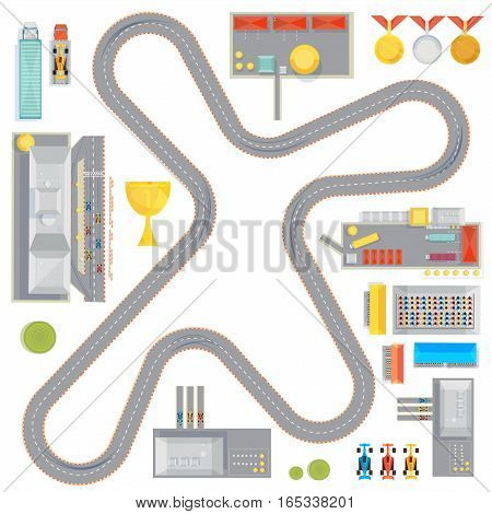 Composition with curvy racing track garages service stations and race car images cup and medals icons vector illustration