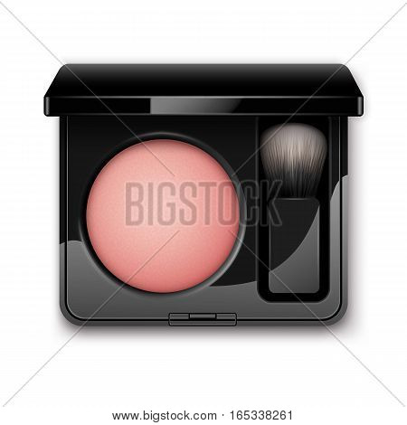 Vector Round Blusher in Black Rectangular Plastic Case with Makeup Brush Applicator Top View Isolated on White Background