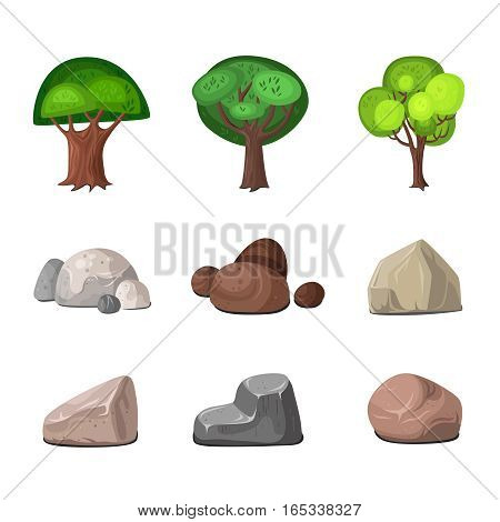 Deciduous trees and stones decoration for park and garden elements set isolated on white background flat vector illustration