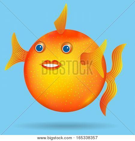 Fat gold fish, Cartoon style. Vector illustration.