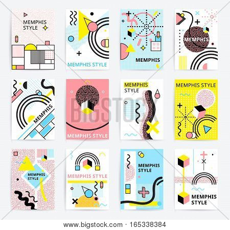 Colorful abstract memphics style posters with geometric figures and lines set doodle isolated vector illustration