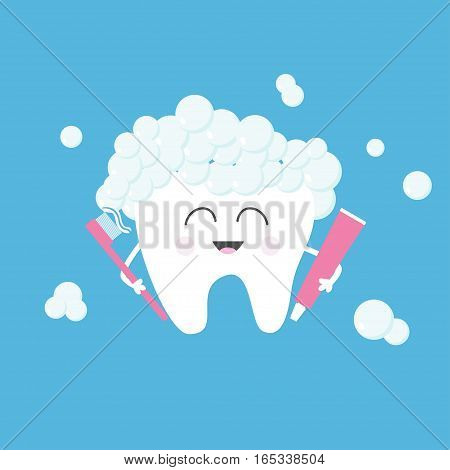 Healthy tooth holding toothpaste and toothbrush. Bubbles foam. Cute funny cartoon smiling character. Children teeth care icon. Oral dental hygiene Baby background Flat design Vector illustration