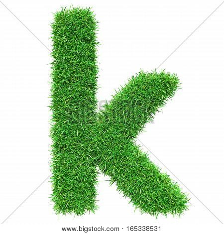 Green Grass Letter K. Isolated On White Background. Font For Your Design. 3D Illustration