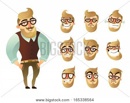 Colored emotions man icon set with figure of hipster and his face expressions vector illustration