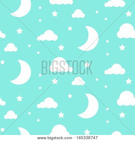 BLue and white background. Starlight moon night seamless kid vector pattern. Monochrome toddler style textile fabric cartoon scandinavian ornament.