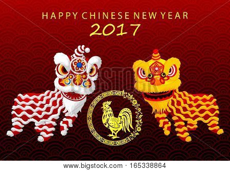 Vector illustration of Happy Chinese new year 2017 card with Chinese lion dance
