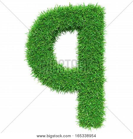 Green Grass Letter Q. Isolated On White Background. Font For Your Design. 3D Illustration