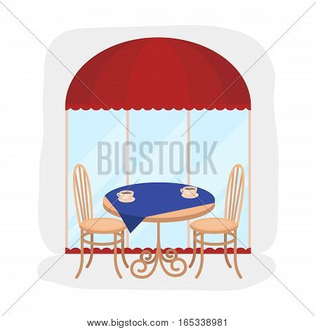 Served table near cafe icon in cartoon design isolated on white background. France country symbol stock vector illustration.
