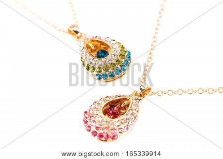 Stylish necklaces with stones isolated on white background.