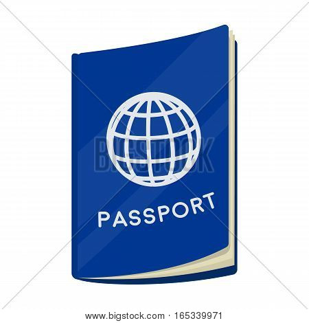 Passport icon in cartoon design isolated on white background. Rest and travel symbol stock vector illustration.