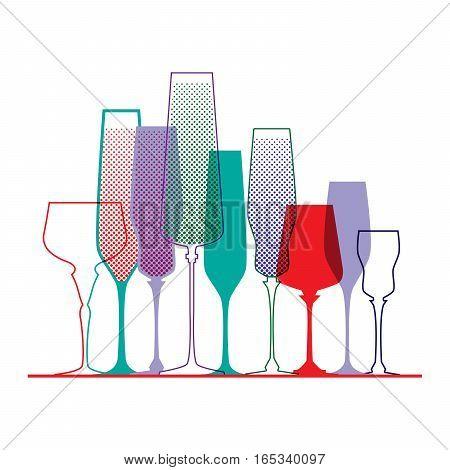Color glass. Pop art style. Vector illustration.