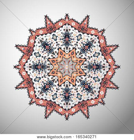 Ornamental round geometric pattern in aztec style
